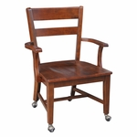 Solid Wood 35.4''H Desk Chair with Arms and Round Casters - Espresso [C581-699162-FS-WHT]