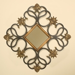 Scrolled Iron Metal Diamond Shaped 35''H Wall Mirror with Fleur De Lis - Black and Antique Gold [2445-FS-PAS]