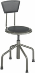 Diesel 16'' H Adjustable Height Industrial Low Base Drafting Stool with Back - Pewter [6668-FS-SAF]