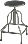 Diesel 22'' H Adjustable Height Industrial High Base Drafting Stool without Back - Pewter [6665-FS-SAF]