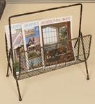 Distressed Metal and Mesh Wire 17''H Magazine Rack with Handle - Copper [2452-FS-PAS]
