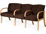 Dixon Three Seater Guest Chair with Left Facing 30'' Bariatric Chair - Leather Upholstery [DX30BL-LEA-FS-LZBF]
