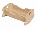 American Made Solid Wood Rocking Doll Cradle - Unfinished [063-UNF-FS-LC]