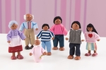Wooden Doll Family with Seven Family Members - African American [65234-FS-KK]