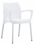 Domenica Lightweight Stackable Arm Chair with Aluminum Legs - White [049-3709-ATC]