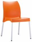 Domenica Lightweight Stackable Side Chair with Aluminum Legs - Orange [049-3846-ATC]