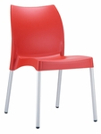 Domenica Lightweight Stackable Side Chair with Aluminum Legs - Red [049-3822-ATC]