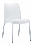 Domenica Lightweight Stackable Side Chair with Aluminum Legs - White [049-3808-ATC]