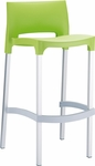 Domenica Lightweight Stackable Barstool with Matte Aluminum Legs - Green [035-5505-ATC]