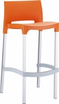 Domenica Lightweight Stackable Barstool with Matte Aluminum Legs - Orange [035-5499-ATC]