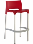 Domenica Lightweight Stackable Barstool with Matte Aluminum Legs - Red [035-5475-ATC]