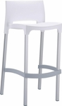 Domenica Lightweight Stackable Barstool with Matte Aluminum Legs - White [035-5451-ATC]