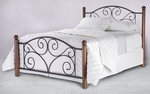 Doral Simple Mixed Media Bed with Frame - Full - Matte Black and Walnut [B91274-FS-FBG]
