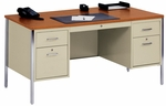 500 Series 60'' W x 30'' D x 29.50'' H Double Pedestal Desk - Putty Base with Oak Top [30045-PO-EEL]