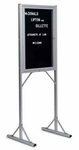 Double Pedestal Single-Sided Aluminum Frame/Glass Enclosed Message Board [PY-302-MSH]