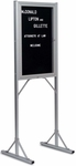 Double Pedestal Single-Sided Aluminum Frame Message Board with Glass Door - 73''H x 24''W [PY-302-MSH]