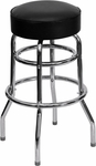 Double Ring Chrome Barstool with Black Vinyl Swivel Seat [BFDH-26165-STOOL-TDR]