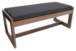 Belcino 19''H Backless Double Seat Bench with Cherry Wood Finish - Black [BBNCH2148CHBK-FS-REG]