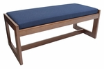 Belcino 19''H Backless Double Seat Bench with Cherry Wood Finish - Blue [BBNCH2148CHBE-FS-REG]