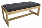 Belcino 19''H Backless Double Seat Bench with Oak Wood Finish - Black [BBNCH2148MOBK-FS-REG]