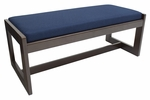 Belcino 19''H Backless Double Seat Bench with Mocha Walnut Wood Finish - Blue [BBNCH2148MWBE-FS-REG]