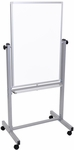 Double Sided Magnetic Mobile White Board with Chrome Finished Aluminum Frame - 27''W x 21''D x 59''H [L270-FS-LUX]