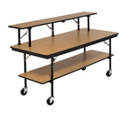 Stained and Sealed Plywood Mobile Bar and Buffet Table with Top Shelf - 30''W x 72''D x 30''H [BF306P-AMTB]