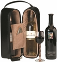Double Wine Presentation Case with Stainless Steel Corkscrew - Faux Leather - Black