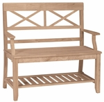 Double X-Back Bench with Slated Storage Shelf and Arms - Unfinished [BE-1-FS-WHT]