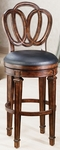 Dover Wood 30'' Bar Height Stool with Black Leather Seat - Distressed Cherry [62968-FS-HILL]