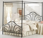 Dover Powder Coated Metal Bed Set with Rails - King - Textured Black [348BKPR-FS-HILL]