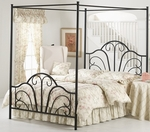 Dover Powder Coated Metal Canopy Bed Set with Rails - Queen - Textured Black [348BQPR-FS-HILL]