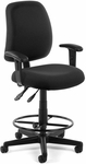 Posture Adjustable Height Task Chair with Arms and Drafting Kit - Black [118-2-AA-DK-805-FS-MFO]