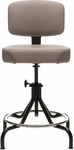 Low Range Drafting Stool with Manual Height Adjustment and Four Legged Base - Black [D41L-4LB-FS-UC]