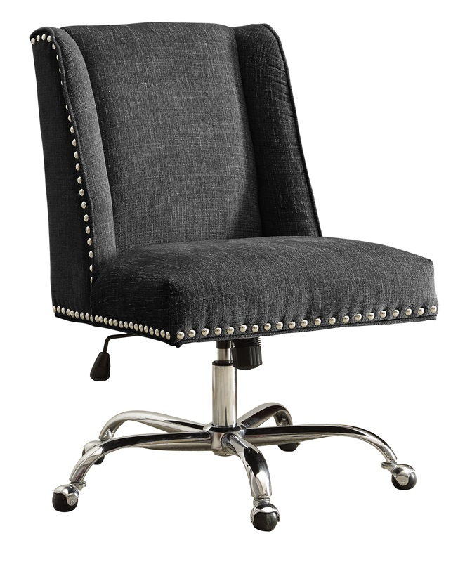 Draper Height Adjustable Chrome And Plush Fabric Office Chair With Metal Cast
