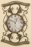 Scrolled Bronze Metal Driftwood 26''H Wall Clock with Black Roman Numerals - Brown [2449-FS-PAS]