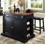 Drop Leaf Breakfast Bar Top Kitchen Island in Black Finish with 24'' Black Upholstered Saddle Stools [KF300074BK-FS-CRO]