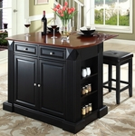 Drop Leaf Breakfast Bar Top Kitchen Island in Black Finish with 24'' Black Upholstered Square Seat Stools [KF300075BK-FS-CRO]