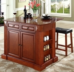 Drop Leaf Breakfast Bar Top Kitchen Island in Cherry Finish with 24'' Cherry Upholstered Saddle Stools [KF300074CH-FS-CRO]