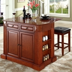 Drop Leaf Breakfast Bar Top Kitchen Island in Cherry Finish with 24'' Cherry Upholstered Square Seat Stools [KF300075CH-FS-CRO]