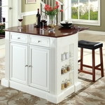 Drop Leaf Breakfast Bar Top Kitchen Island in White Finish with 24'' Cherry Upholstered Saddle Stools [KF300074WH-FS-CRO]