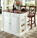 Drop Leaf Breakfast Bar Top Kitchen Island in White Finish with 24'' Cherry X-Back Stools [KF300073WH-FS-CRO]