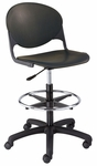 DS2000 Series Polypropylene Height Adjustable Drafting Stool with Chrome Foot Ring and Casters [DS2000-IFK]