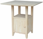 Solid Wood 38''W X 36''H Dual Drop Leaf Counter Height Bistro Table With Storage Cabinet - Unfinished [T-3638DPG-FS-WHT]