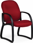 Durable 300 lb. Capacity Mid - Back Guest Chair - Leather Upholstery [92254-LEA-FS-LZBF]