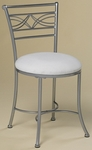 Dutton Powder Coated Metal 31''H Vanity Stool with White Fabric Seat - Faux Chrome [50941-FS-HILL]
