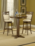 Jefferson 3 Piece Pub Set with 36'' Diameter Round Wood Table and 2 Stools - Brown Cherry [4975PTBBRNS2JF-FS-HILL]