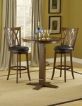 Mansfield 3 Piece Pub Set with Round Wood Table and 2 Stools - Brown Cherry [4975PTBBRNS2MF-FS-HILL]