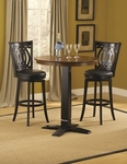 Van Draus 5 Piece Pub Set with Round Wood Table and 4 Stools - Brown Cherry and Black [4975PTBBLKSVD-FS-HILL]