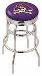 East Carolina University 25'' Chrome Finish Double Ring Swivel Backless Counter Height Stool with Ribbed Accent Ring [L7C3C25ECAROL-FS-HOB]